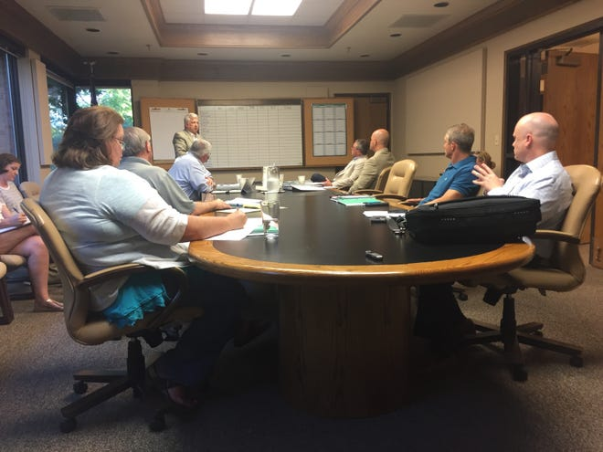 City Administrator Patrick Lawton addresses the Germantown Board of Mayor and Aldermen at a working meeting Monday. The board chose eight applicants to interview for the school board vacancy.
