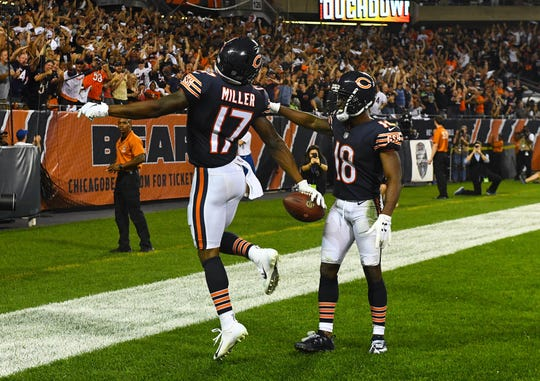 Sep 17, 2018; Chicago, IL, USA; Chicago Bears wide receiver Anthony Miller (17) reacts after catching a touchdown against the Seattle Seahawks during the second half at Soldier Field.