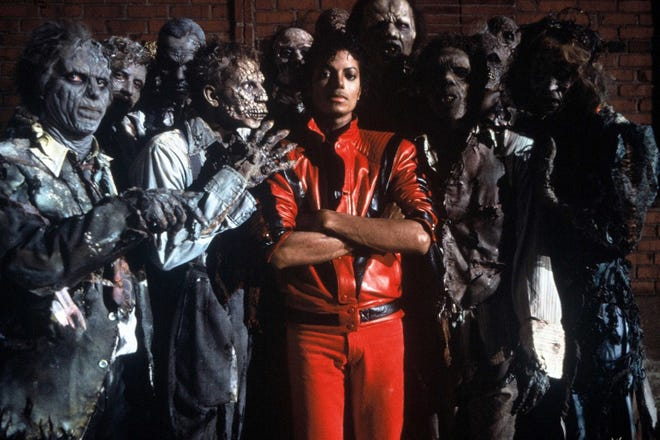 "The King of Pop and a clan of rot strike a pose for the Michael Jackson ""Thriller"" music video, which has been remastered for IMAX 3D."