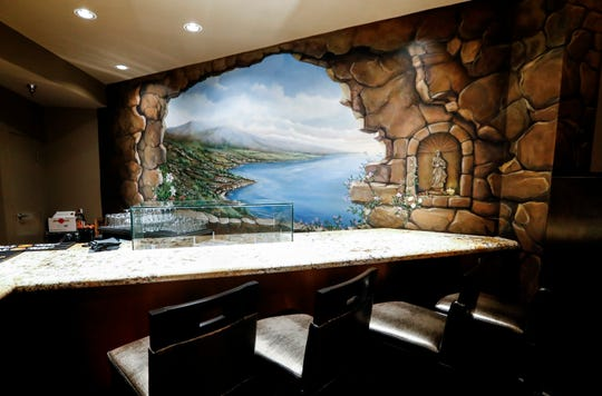 A hand-painted mural overlooks the bar in chef Judd Grisanti's new Ronnie Grisanti's Restaurant in the Regalia Shopping Center. The bar/lounge area will also feature a raw bar for oysters and seafood.