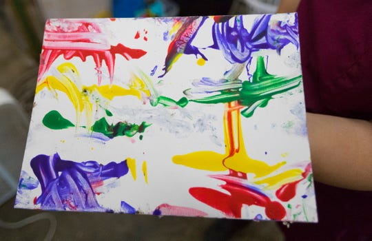 Artwork created by two rhesus macaques as part of  an enrichment activity.