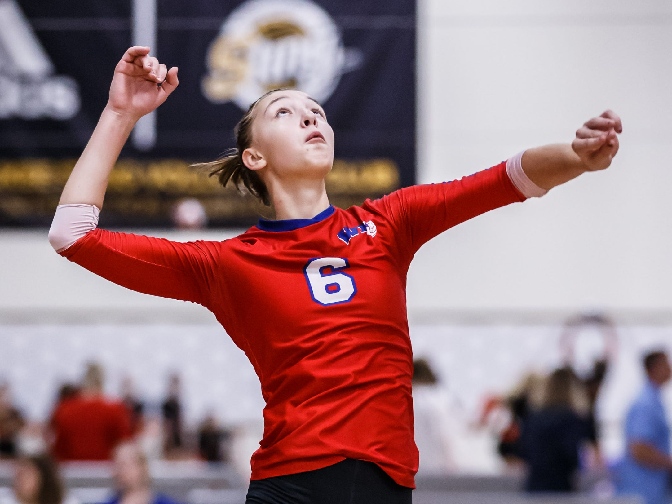 Wisconsin Lutheran junior Julia Treichel (6) elevates for a kill during a match at the 2018 Eastbay Charger Challenge hosted by Sussex Hamilton at the Milwaukee Sting Center in Menomonee Falls on Saturday, Sept. 15. Julia was awarded All-Tournament Player honors.
