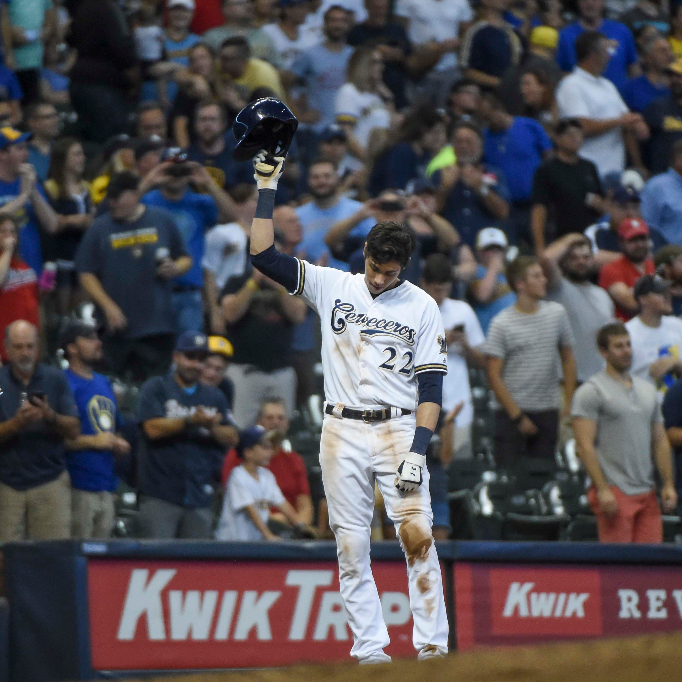 Brewers 8, Reds 0: Christian Yelich hits for cycle for second time against Cincinnati