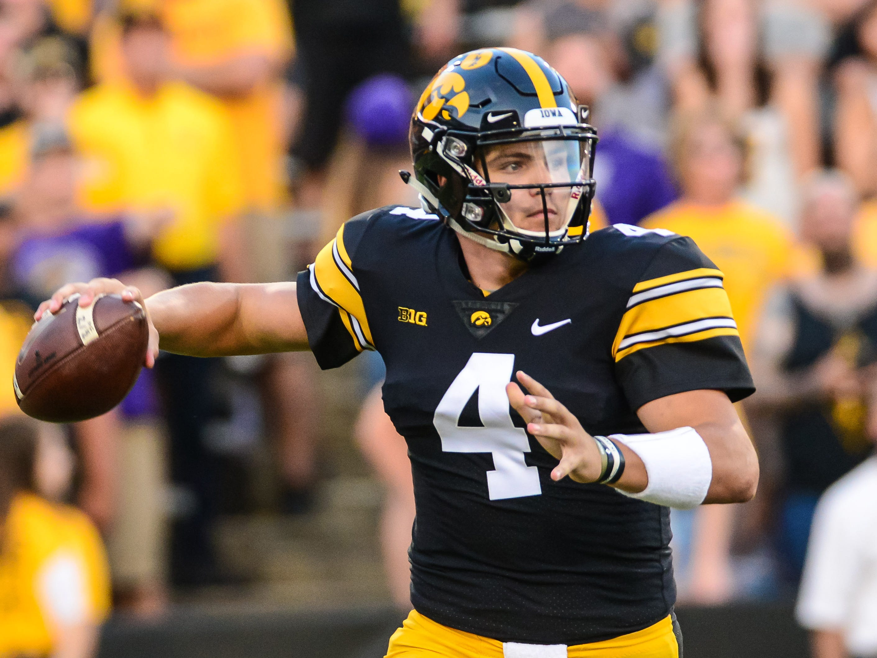 Sep 15, 2018; Iowa City, IA, USA; Iowa Hawkeyes quarterback Nate Stanley (4) throws a pass during the first quarter against the Northern Iowa Panthers at Kinnick Stadium. Mandatory Credit: Jeffrey Becker-USA TODAY Sports