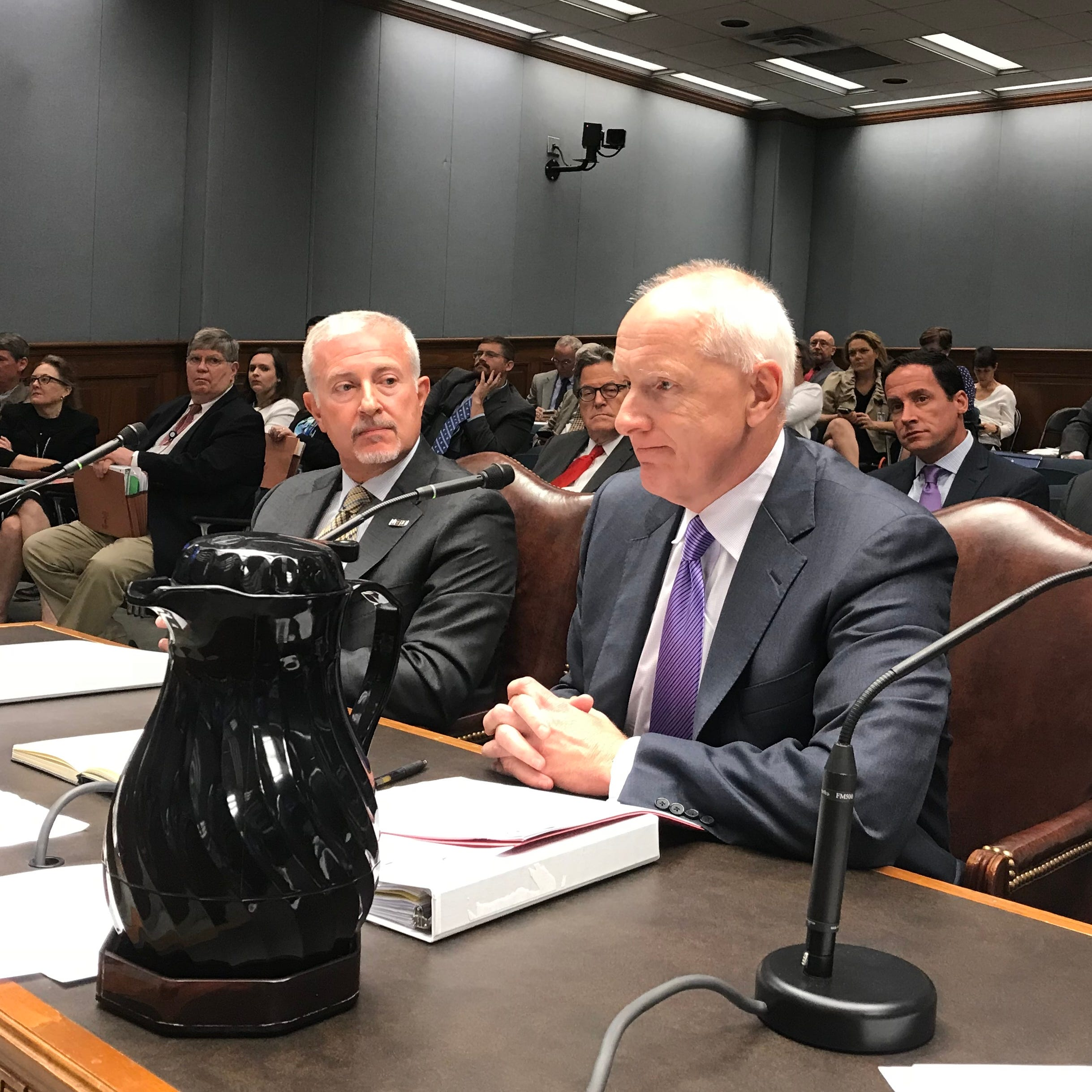 LSU Health Sciences Shreveport Chancellor G.E. Ghali, right, and Ochsner Health System CEO Warner Thomas testify during the Joint Legislative Budget Committee Tuesday.