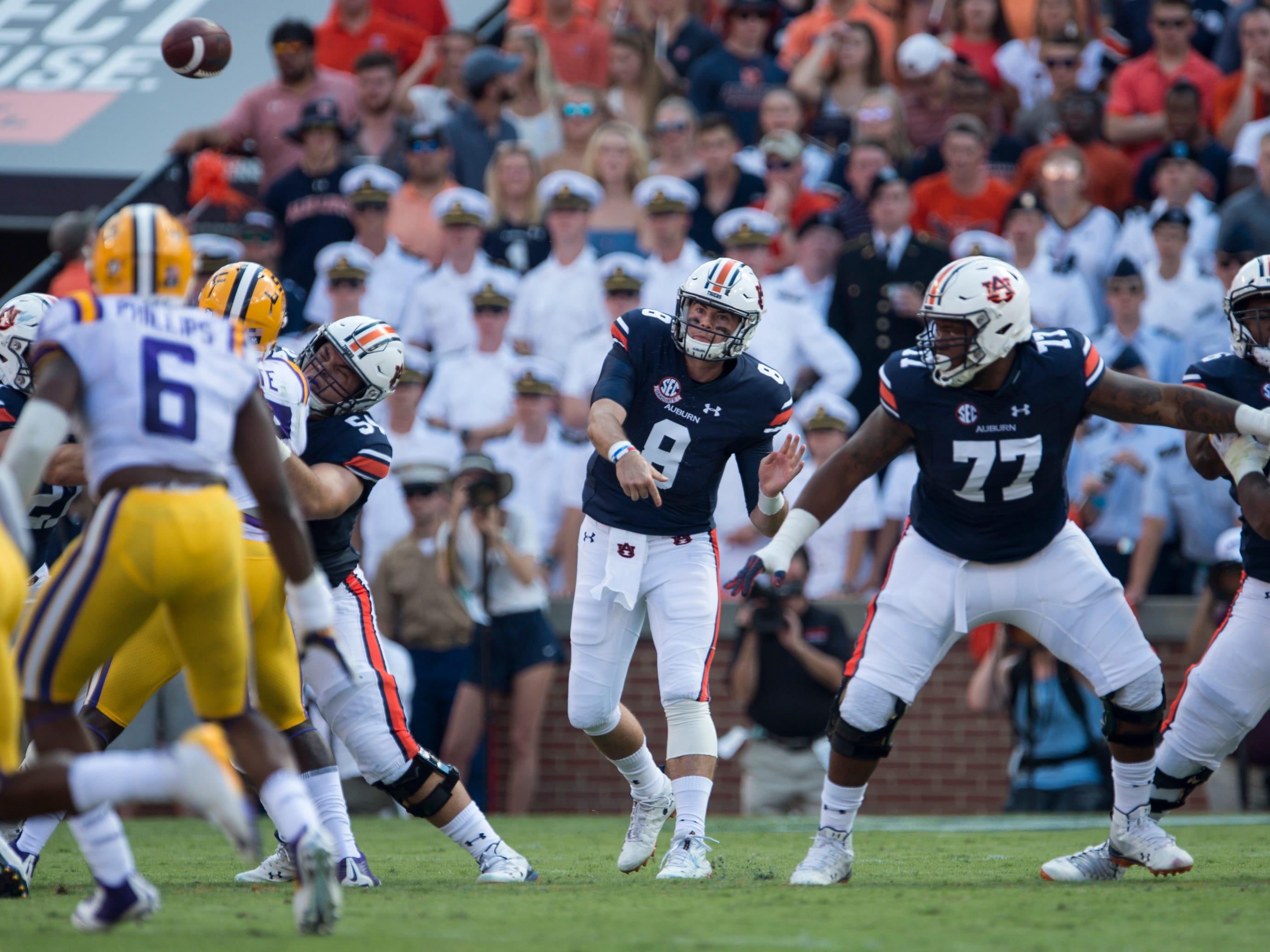 Auburn's Jarrett Stidham (8) throws the ball down field against LSU at Jordan-Hare Stadium in Auburn, Ala., on Saturday, Sept. 15, 2018. LSU defeated Auburn 22-21.