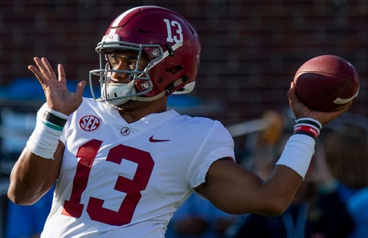 Alabama quarterback Tua Tagovailoa (13) as the Alabama football team warms up before the Ole Miss game in Oxford, Ms., on Saturday September 15, 2018.