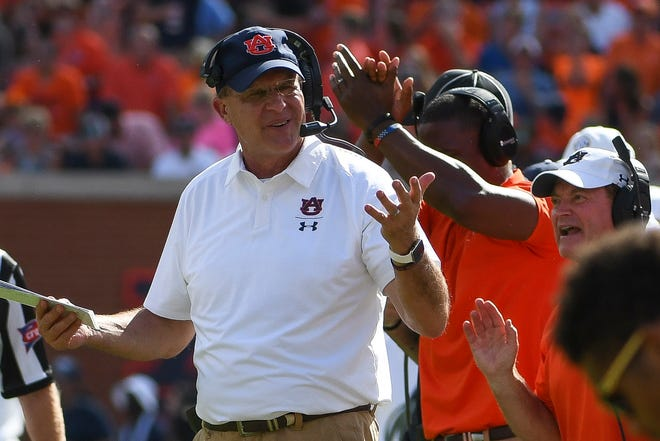 Auburn head coach Gus Malzahn reacts to a penalty call during the second quarter of a game against LSU on Saturday, Sept. 15, 2018, in Auburn, Ala.