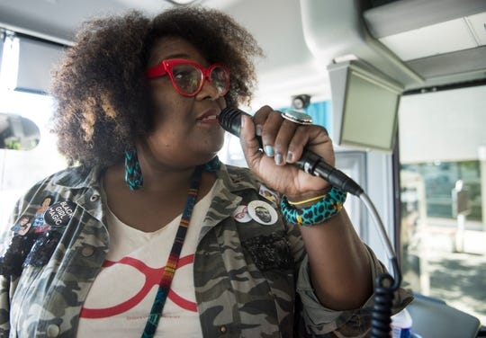 Michelle Browder leads a historical bus tour in Montgomery, Ala., on Sunday, Sept. 16, 2018.