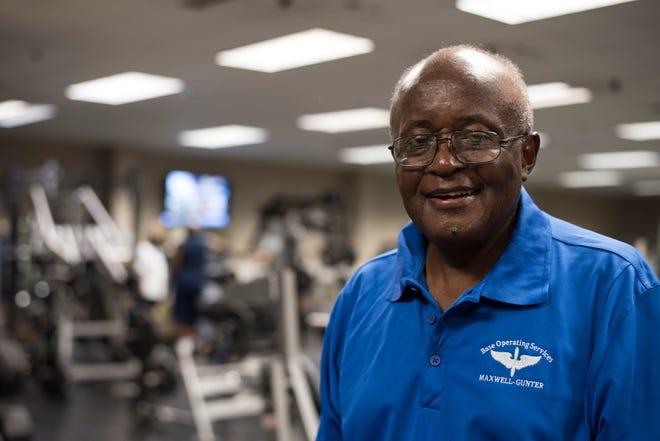 Jeremiah Parks, Maxwell Fitness and Wellness Center recreation aide, poses for a photo in the weight room of the fitness center, Sept. 7, 2018, Maxwell Air Force Base, Alabama. Parks retired after 61 years of service to the Maxwell community.