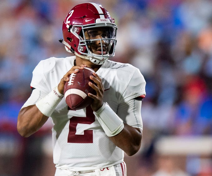 Alabama quarterback Jalen Hurts (2) looks to pass against Ole Miss in first half action in Oxford, Ms., on Saturday September 15, 2018.