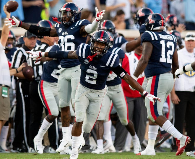 Ole Miss defensive back Montrell Custis (2) celebrates a turnover against Alabama In first half action in Oxford, Ms., on Saturday September 15, 2018.