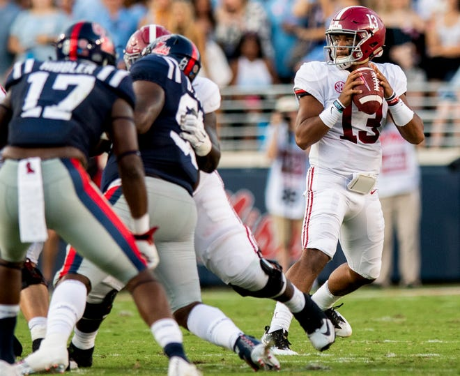 Alabama quarterback Tua Tagovailoa (13) throws against Ole Miss In first half action in Oxford, Ms., on Saturday September 15, 2018.