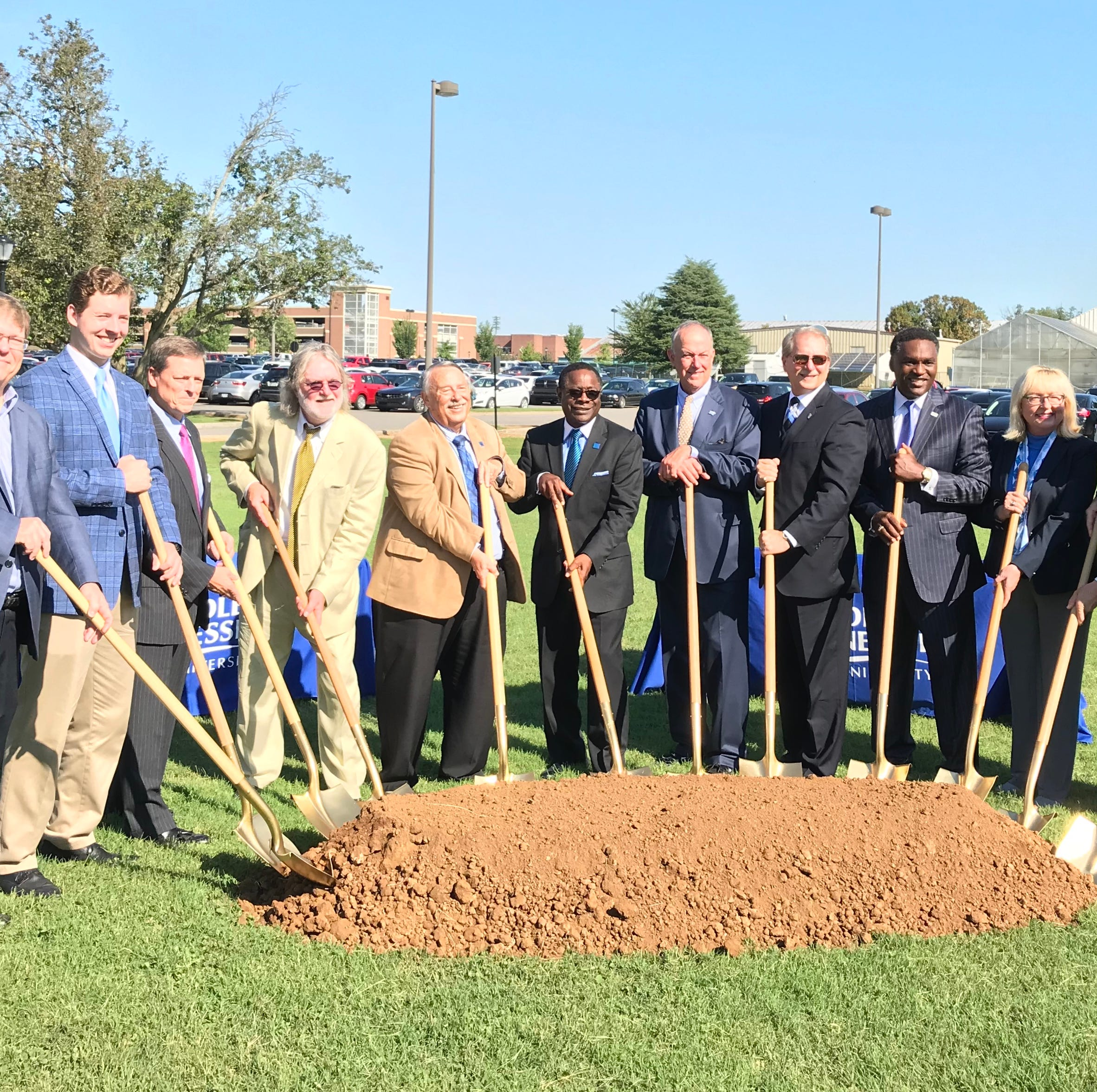 In  this Tuesday, Sept. 18, 2018 photo, MTSU breaks ground on a $39.6 million building that will house the departments of criminal justice, psychology and social works. The projected completion date for this project is summer 2020.
