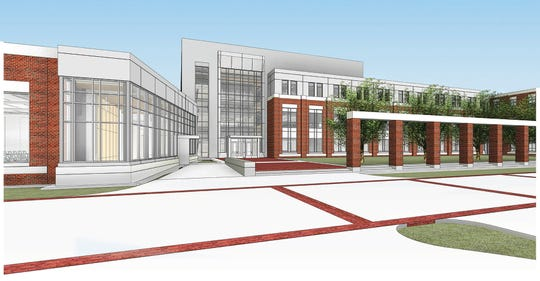 This architectural rendering shows the exterior of the new academic building that will house MTSU's criminal justice, psychology and social work programs within the College of Behavioral and Health Sciences. The $39.6 million, 91,000-square-foot building will be located north of the Student Union Commons and is expected to be finished by fall 2020.