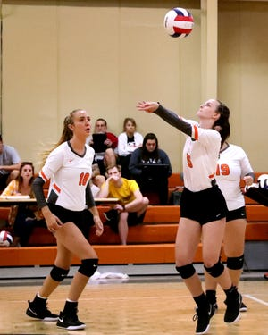 MTCS' Ellie Shirley passes during a recent match. Shirley was voted area girls athlete of the week for Sept. 17-21.