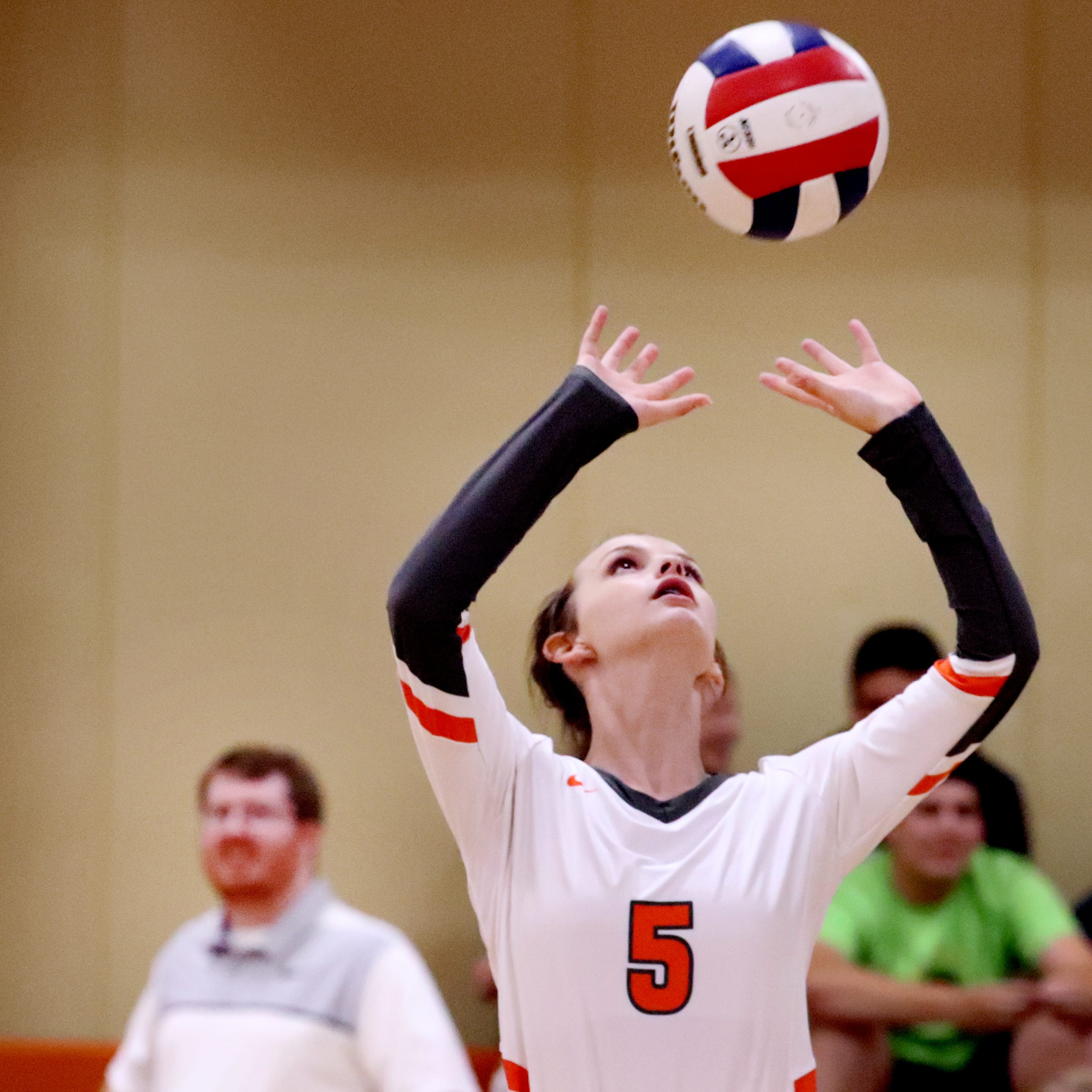 MTCS's Ellie Shirley (5) sets the ball during a game against   PCA in volleyball at home on Monday, Sept. 17, 2018. MTCS won 3 games back to back.