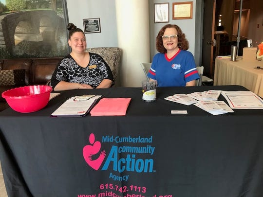 Brianna Ortiz and Ronda Martin with Mid-Cumberland Community Action Agency had a booth at Goodlettsville's senior resource fair.