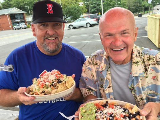Channel 4 sportscaster Joe Dubin with recently retired Channel 4 personality Rudy Kalis show off their nachos at Zulema's in Donelson