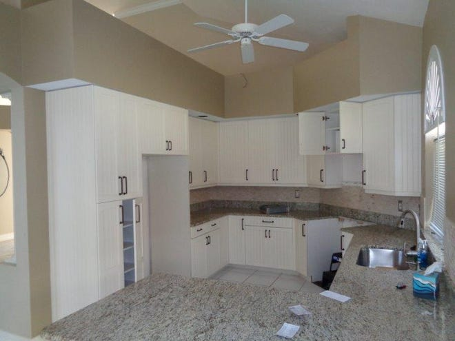 BEFORE: Small and outdated kitchen and little counter space in cramped 1990's kitchen in luxury estate home in Bonita Bay