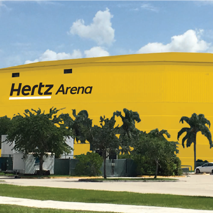 "Hertz drives ahead with plans to paint hockey arena ""sunny"" yellow despite opposition"