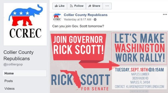Gov. Rick Scott spokesman Chris Hartline said the Naples campaign event was never finalized or advertised; however, Collier County GOP posted about the event on its Facebook page Monday morning. The event was canceled just hours after red tide protesters confronted Scott in Venice.