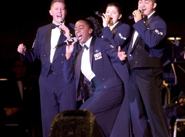 Felita LaRock, center, in 2005 performs at the national museum of the United States Air Force. She will perform Oct. 14 at the Midland Theatre.