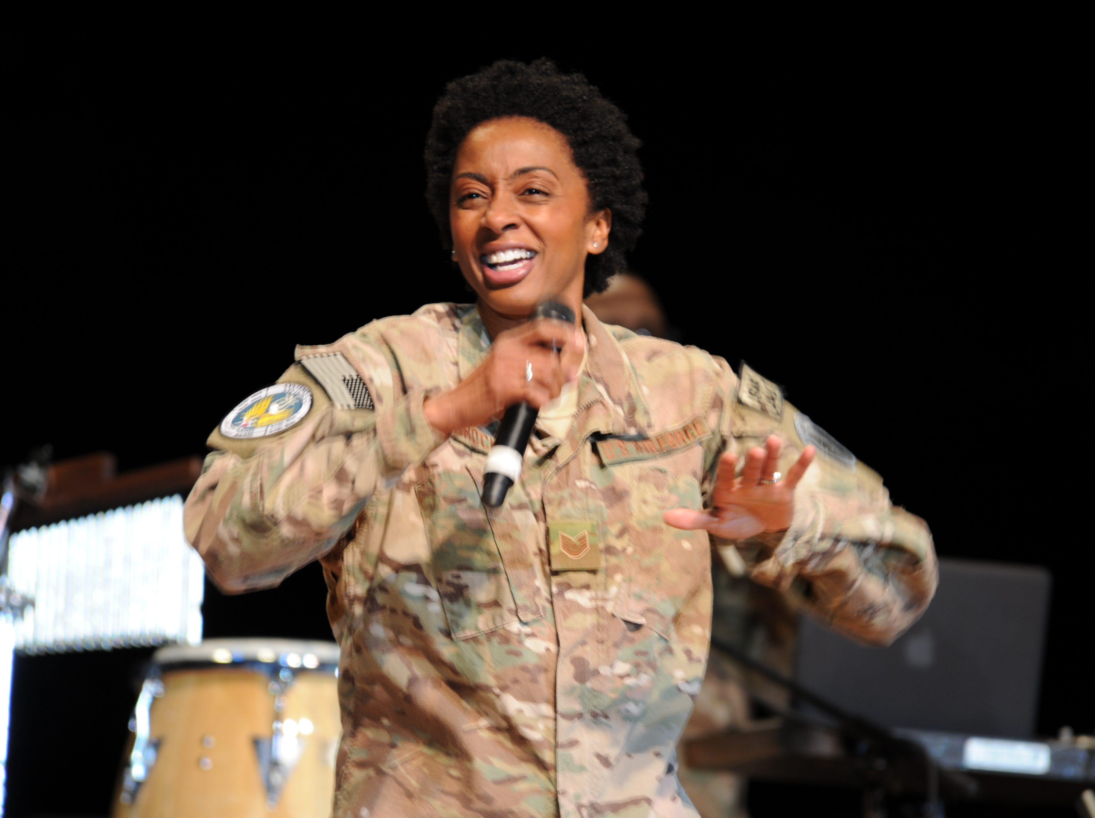 """Felita LaRock performs at a """"Welcome Home System's Go"""" concert held at the National Museum of the United States Air Force May of 2014."""