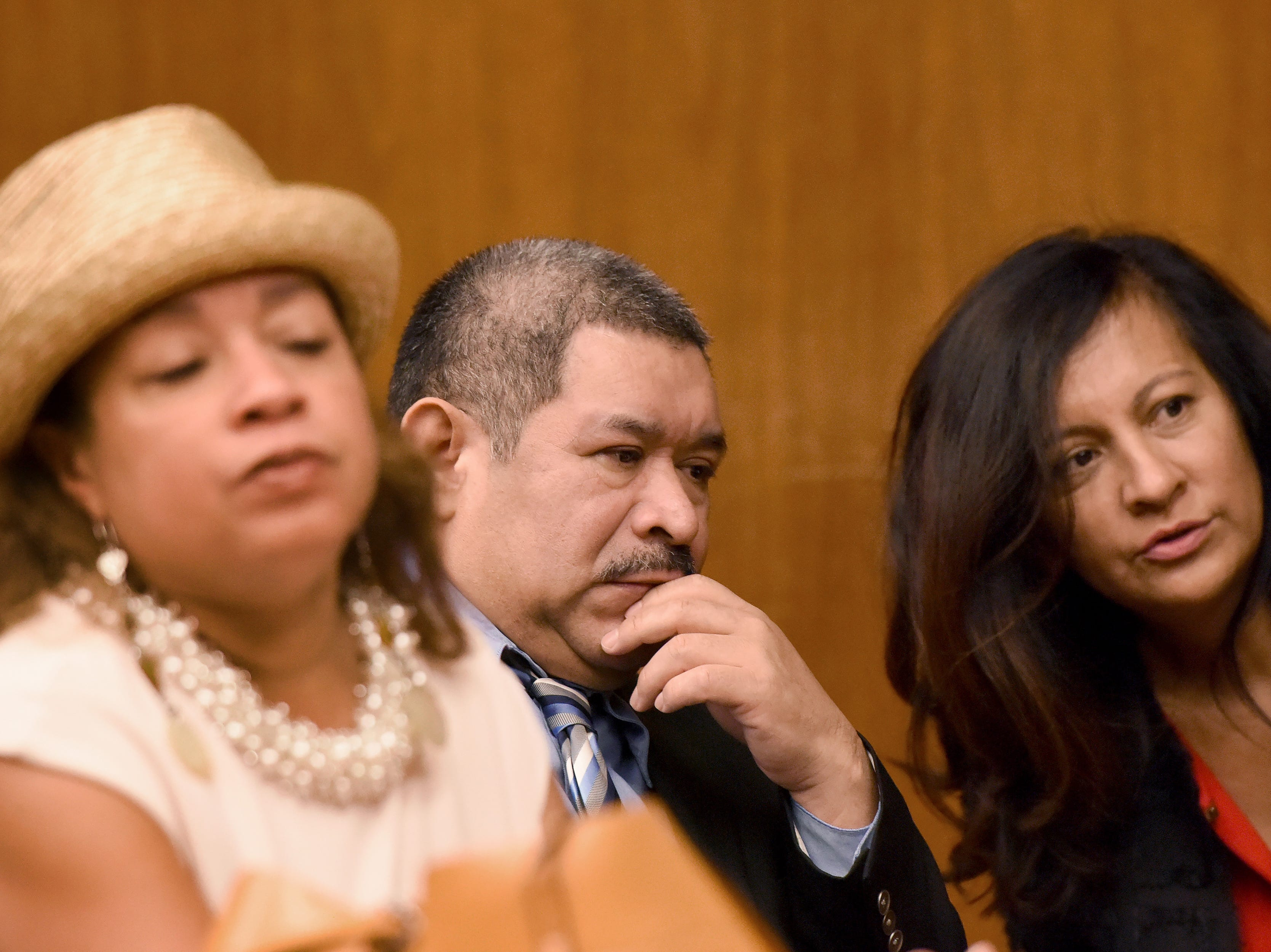 Alfredo Rosales, 53, of Englewood is on trial for several crimes, including aggravated sexual assault, criminal sexual contact, human trafficking and endangering the welfare of a child. Closing arguments were given in the case in Bergen County Superior Court on Tuesday, September 18, 2018. Rosales sits with his attorney Ana Tolentino, on left and a translator.