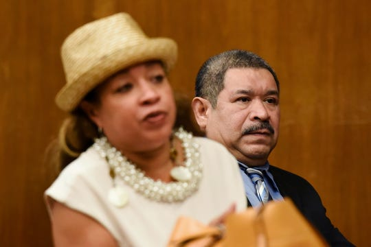 Alfredo Rosales, 53, of Englewood is on trial for several crimes, including aggravated sexual assault, criminal sexual contact, human trafficking and endangering the welfare of a child. Closing arguments were given in the case in Bergen County Superior Court on Tuesday, September 18, 2018. Rosales sits with his attorney Ana Tolentino in Judge James Guida's courtroom.