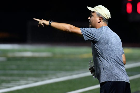 Waldwick head coach Jonathan Noschese on the sideline during a game against Park Ridge in Waldwick, NJ on Monday, September 17, 2018.