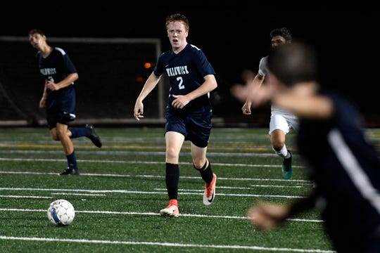 Waldwick's John McHugh (2), shown during a Sept. 17 match against Park Ridge, scored the Warriors' second goal of their victory over Park Ridge in the North 1, Group 1 boys soccer final on Thursday.