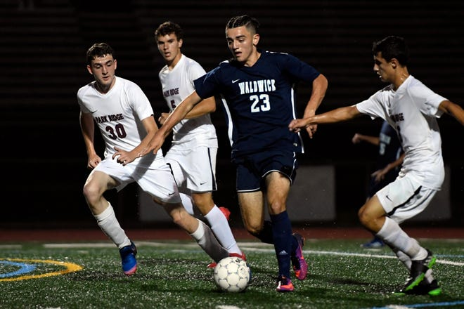 Waldwick's Christopher Borgese (23) drives to the Park Ridge goal during a boys soccer game in Waldwick, NJ on Monday, September 17, 2018.