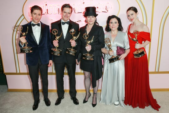WEST HOLLYWOOD, CA - SEPTEMBER 17: (L-R) Michael Zegen, Daniel Palladino, Amy Sherman-Palladino, Alex Borstein and Rachel Brosnahan attend the Amazon Prime Video post Emmy Awards party at Cecconi's on September 17, 2018 in West Hollywood, California. (Photo by Rich Fury/Getty Images)