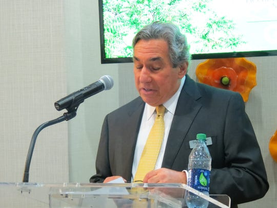 Developer David Sanzari, president of Alfred Sanzari Enterprises, was one of the speakers during the grand opening event for the Hampton Inn & Suites Teaneck Glenpointe and Homewood Suites by Hilton Teaneck Glenpointe on Sept. 17, 2018, in the hotels.