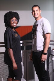 William Paterson University Peer Health Advocates, Onyeka Anyanaso, 21, and Saul Perez, 19, pose for a photograph in Wayne. Tuesday, September 18, 2018