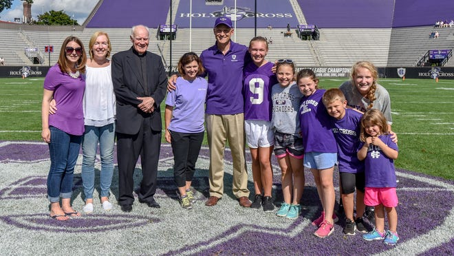 Rob McGovern and his family from Holy Cross' game on Saturday.