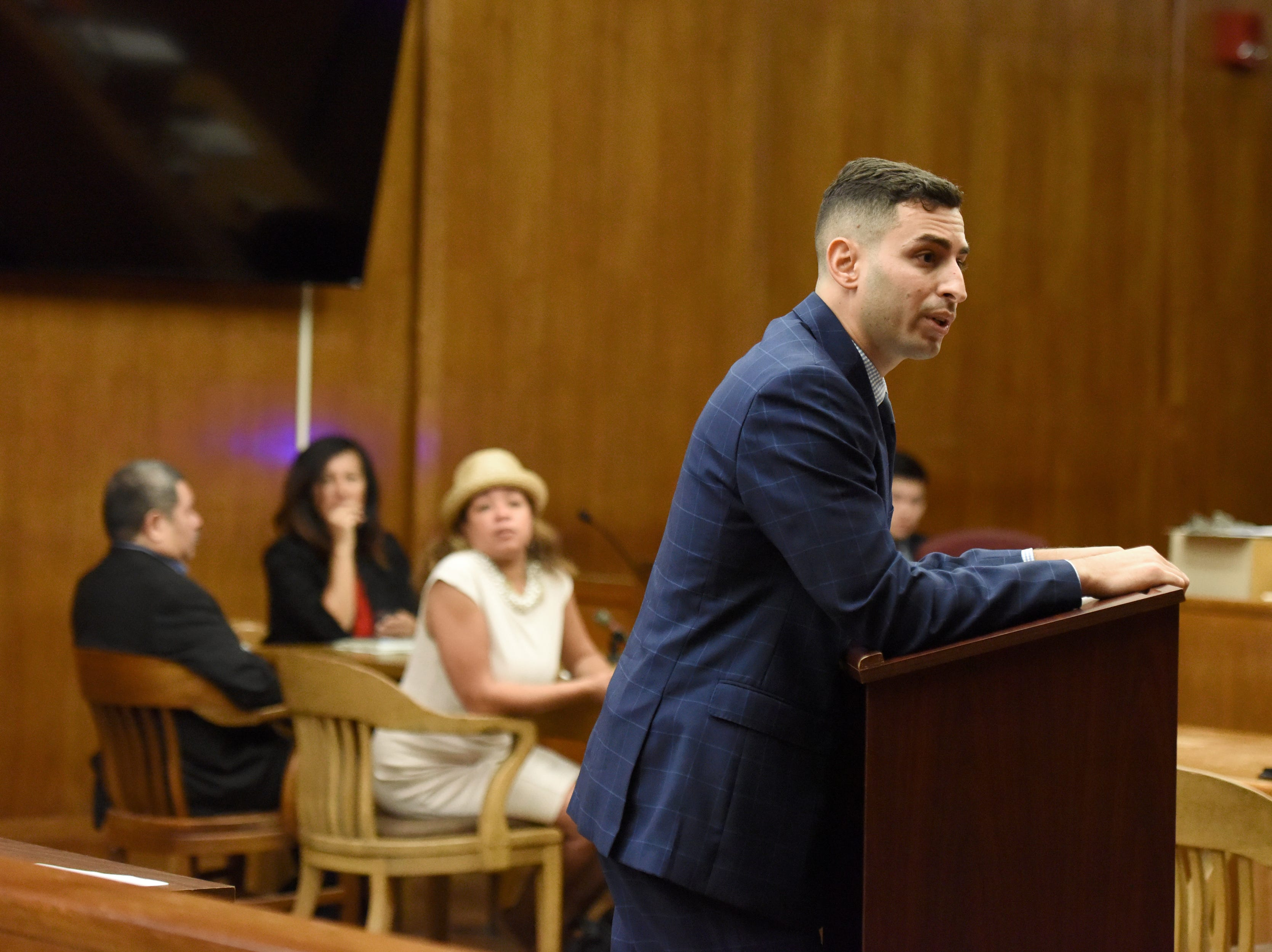 Alfredo Rosales, 53, of Englewood is on trial for several crimes, including aggravated sexual assault, criminal sexual contact, human trafficking and endangering the welfare of a child. Asst. Bergen County Prosecutor Mark Chiavola delivers his closing arguments in the states case against Alfredo Rosales on September 18, 2018.