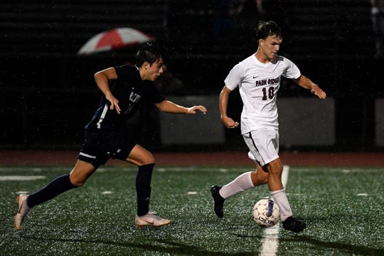 Park Ridge's Nardi Lita (10) plays against Waldwick during a boys soccer game in Waldwick, NJ on Monday, September 17, 2018.
