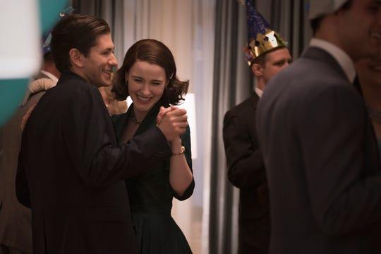 "Michael Zegen (left) and Rachel Brosnahan star in the Amazon Prime Video series ""The Marvelous Mrs. Maisel."""