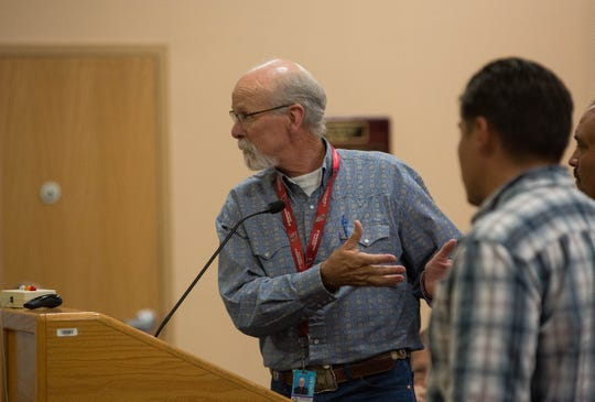 Bobby Stout, executive director of operations for Las Cruces Public Schools, discusses the work needed and what has been done so far at Columbia Elementary School, during a presentation to the School board about the mold problem at the school. Tuesday September 18, 2018.