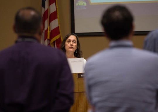 Terrie Dallman, vice president of the Las Cruces School Board, asks questions during a presentation about the mold issue at Columbia Elementary School, Tuesday September 18, 2018.