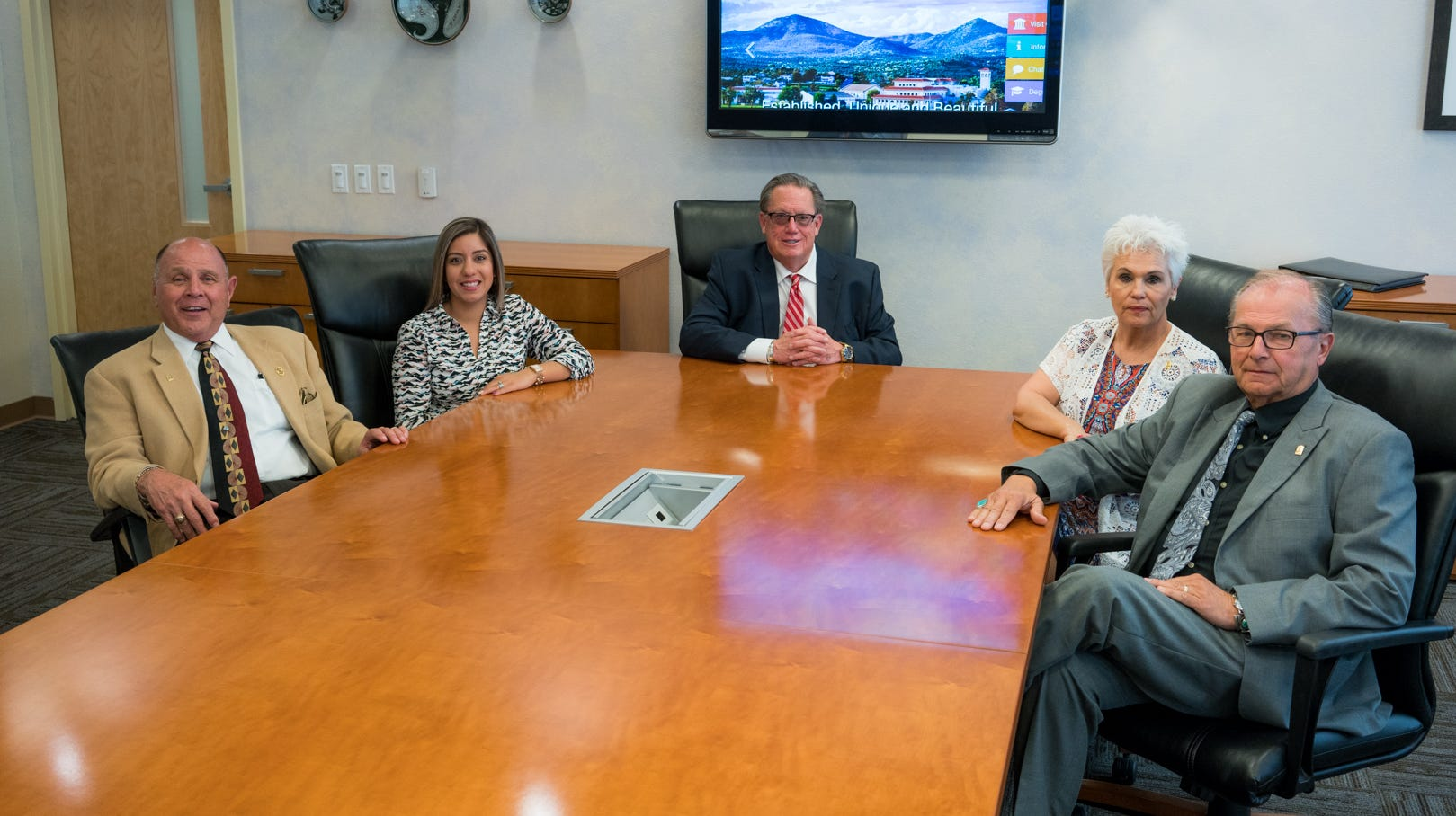 Western New Mexico University regents, from left, Carl Foster, Arlean Murillo, Jerry Walz, Janice Baca-Argabright and Dan Salzwedel met on campus Monday, September 17.