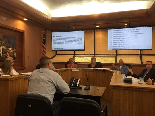 Eddy County Community Services Director Wesley Hooper speaks to the Eddy County Commission Tuesday.