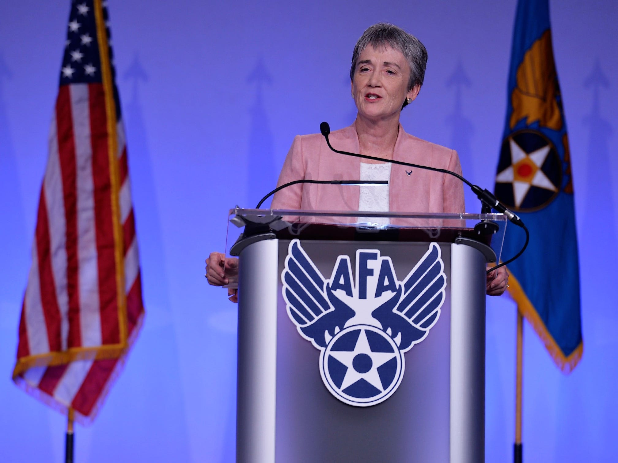 """Secretary of the Air Force Heather Wilson delivers her """"Air Force We Need"""" speech during the Air Force Association's Air, Space and Cyber Conference in National Harbor, Maryland, Sept. 17, 2018."""