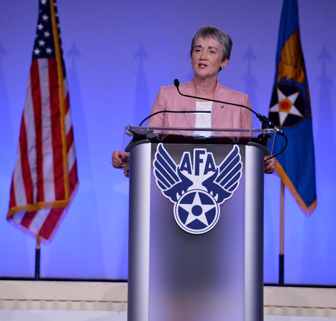 "Secretary of the Air Force Heather Wilson delivers her ""Air Force We Need"" speech during the Air Force Association's Air, Space and Cyber Conference in National Harbor, Maryland, Sept. 17, 2018."