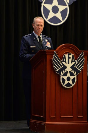 """Lt. Gen. Mark D. Kelly, 12th Air Force commander, delivers his speech on """"The Force We Present"""" during the Air Force Association's Air, Space and Cyber Conference Sept. 17, 2018, in National Harbor, Md. The Air, Space and Cyber Conference is a professional development conference that offers an opportunity for Department of Defense personnel to participate in forums, speeches, seminars and workshops."""