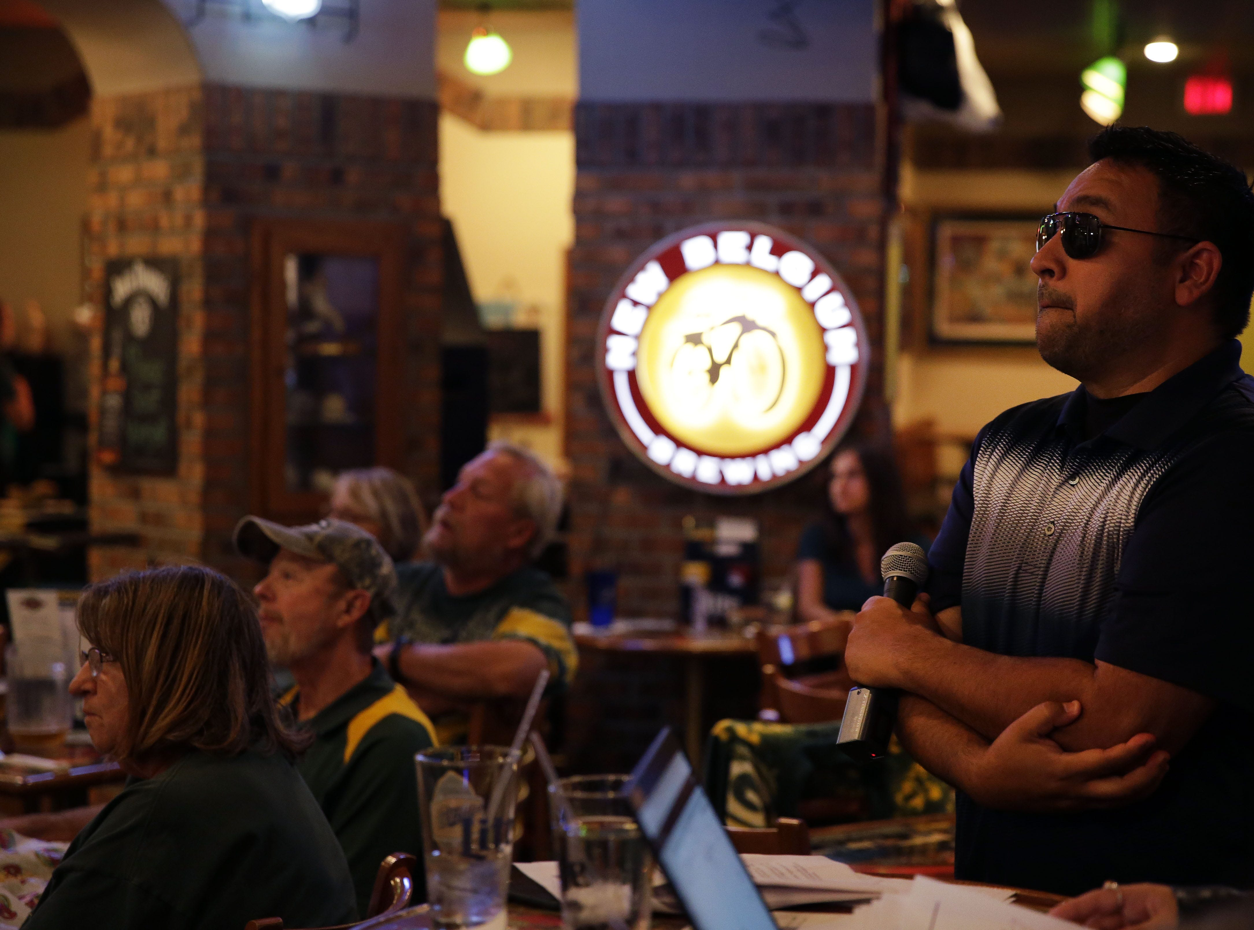 Clubhouse Live co-hosts Brett Christopherson, Ricardo Arguello, Margaret Naczek and Green Bay Packers safety Josh Jones talk football Monday, September 17, 2018, at the Red Lion Hotel Paper Valley in Appleton, Wis. Ron Page/USA TODAY NETWORK-Wisconsin