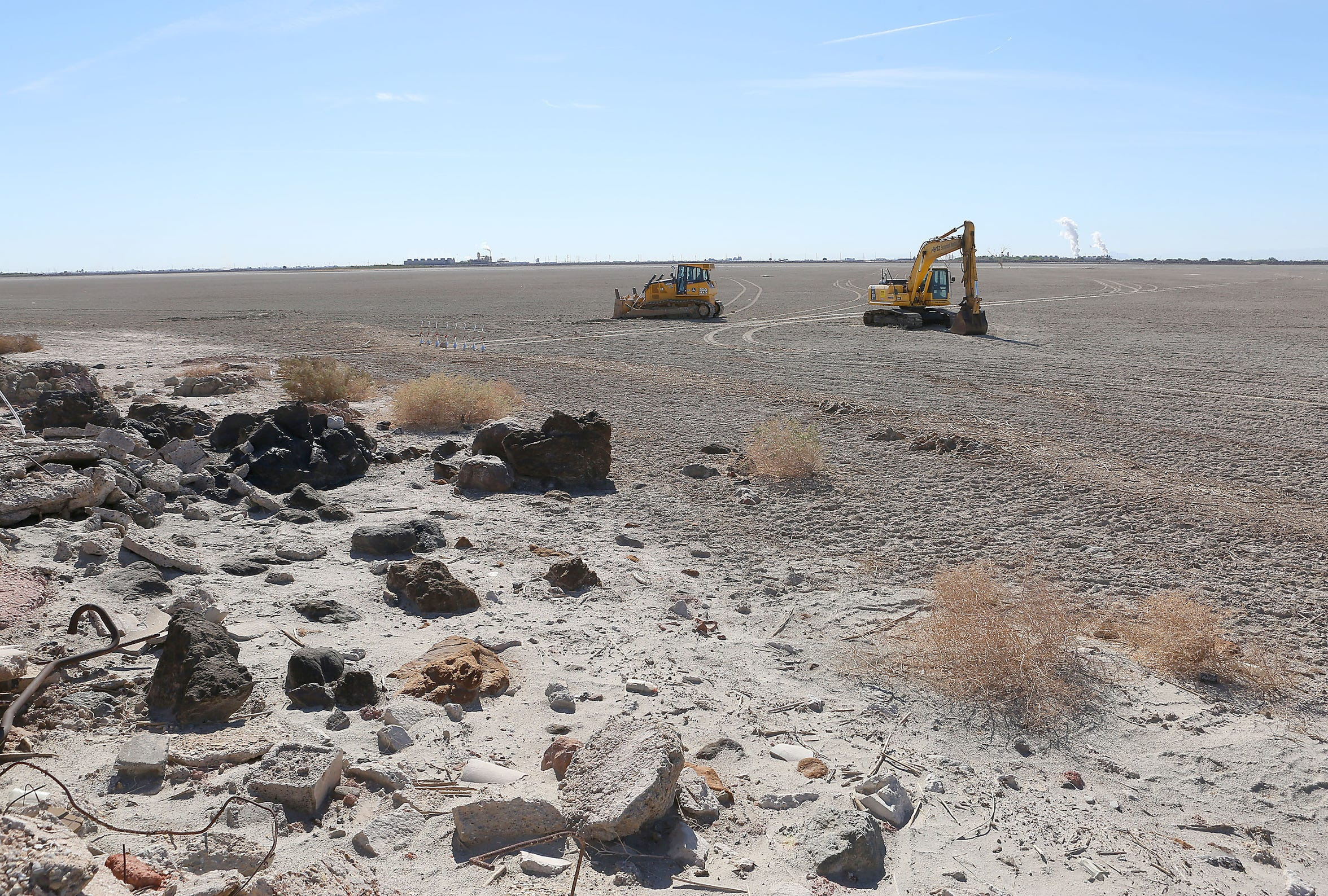 The Red Hill Bay Restoration Project will cover about 500 acres of exposed playa with wetlands habitat. The site is seen here on Nov. 5, 2015.