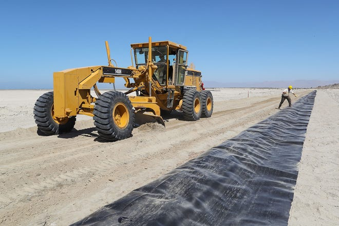Work goes on at the Red Hill Bay restoration project at the Salton Sea on Sept. 12, 2018.